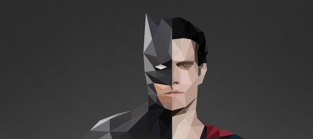 Batman Vs Superman Low Poly by chedoy