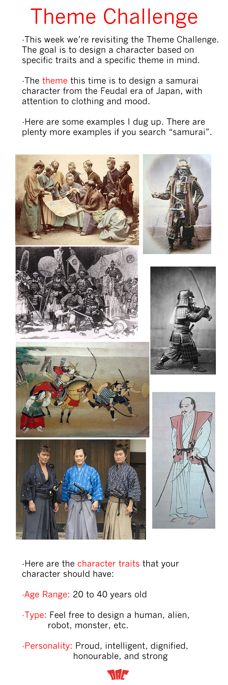 Character Design Challenge Themes : Design a character theme challenge samurai by