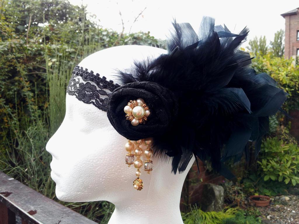Mystique Black Feather Flapper Headband by paradiseshoretwins