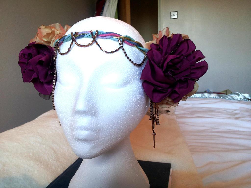 Autumn Garden Bellydance Tribal Flapper Headdress by paradiseshoretwins