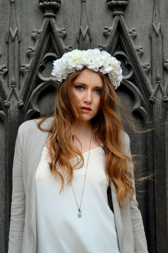 Gothic Glam Floral flower crown headband by paradiseshoretwins