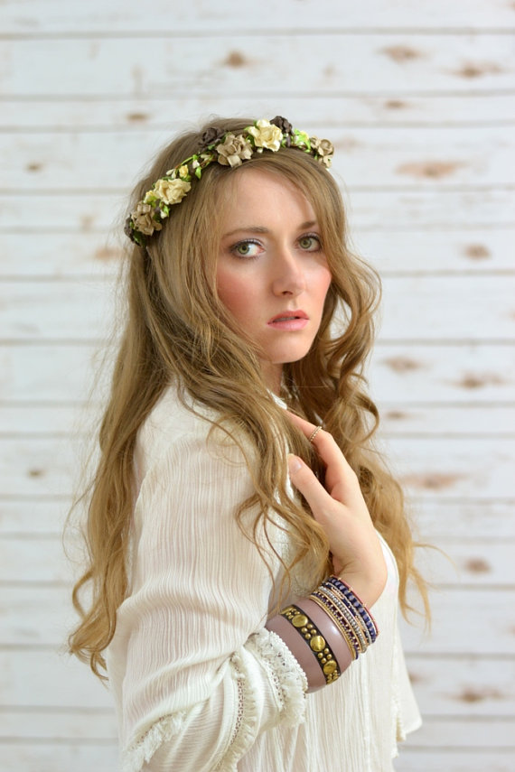 Damsel in white, boho flower crown by paradiseshoretwins