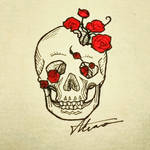 Skull and roses.
