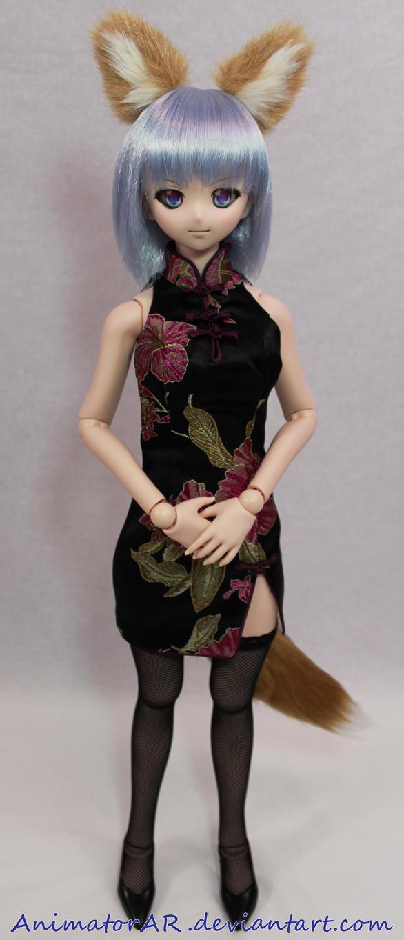 Cute Foxgirl in Chinese Dress by AnimatorAR
