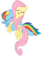 Singing and Hugging Fluttershy and Rainbow Dash by MysteriousBrony