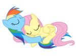 Fluttershy And Rainbow Dash Sleeping