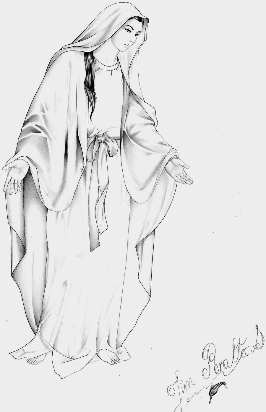 Dibujos a lápiz de la Virgen María - Imagui