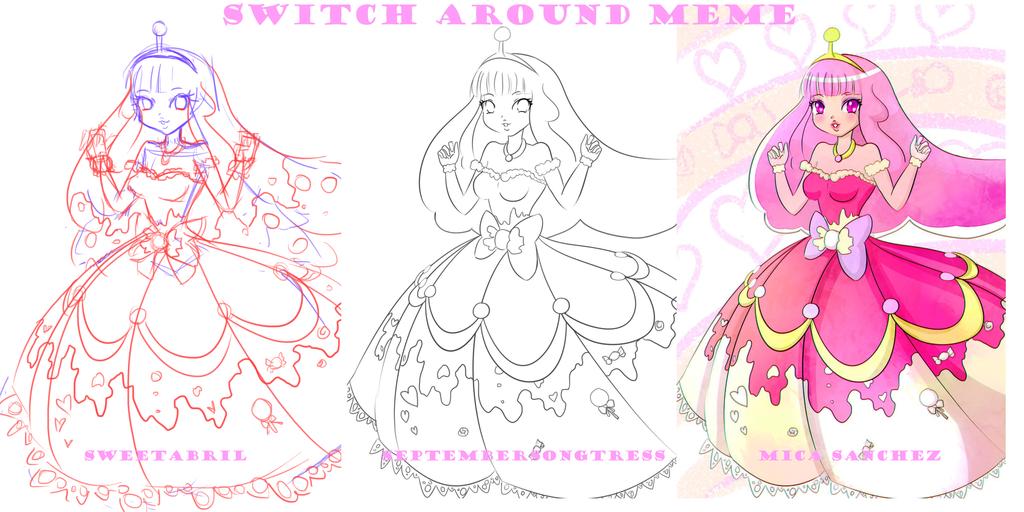 Switch Around Meme- Princess Bubblegum Gala dress by SweetAbril