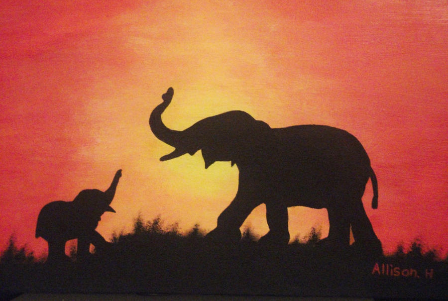 Elephants Painted On Canvas