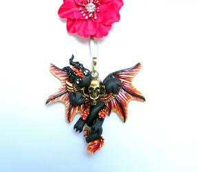 Solar Shadow Skull Key Dragon by LittleDragonDesigns