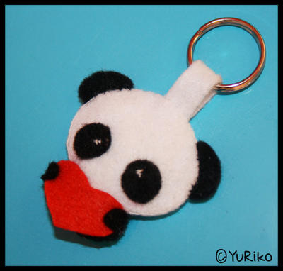 Panda plushie keychain by o-YuRiko-o