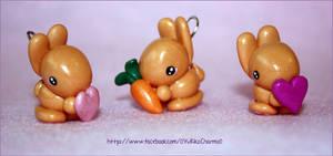 Polymer clay bunny charms
