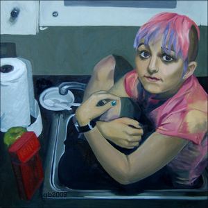 she sits in kitchen sinks.