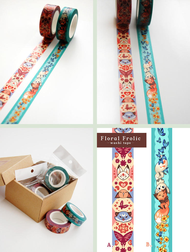Floral Frolic Fox Washi Tape by Cinnamoron
