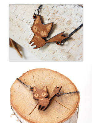 Wooden Cat Necklaces