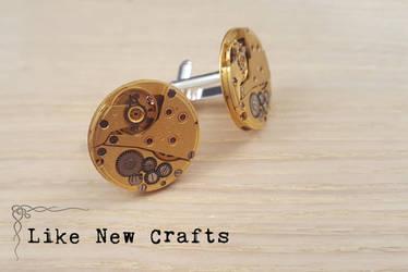 Gold cufflinks by LikeNewCrafts