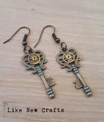 Key earrings by LikeNewCrafts