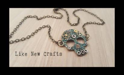 Steampunk skull necklace by LikeNewCrafts