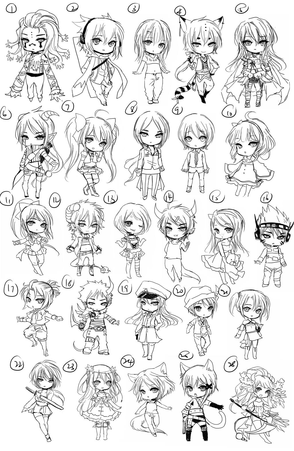 Free chibi Sketch Batch 2 by shrimpHEBY
