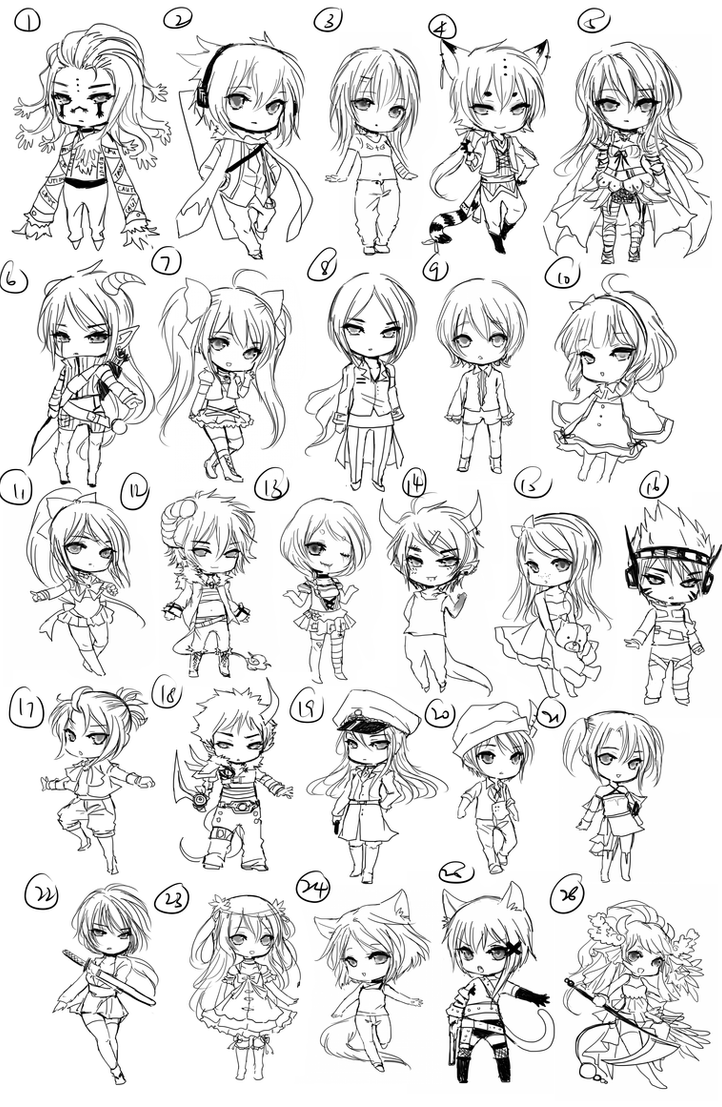 Free chibi Sketch Batch 2 by shrimpHEBY