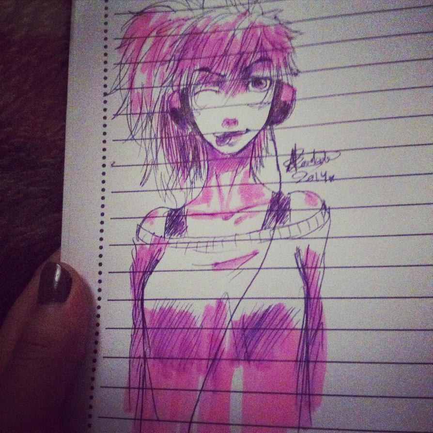 Pink -school doodle- by Hope-chan00