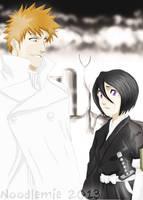 Ichigo the quincy and Rukia the shinigami by noodlemie