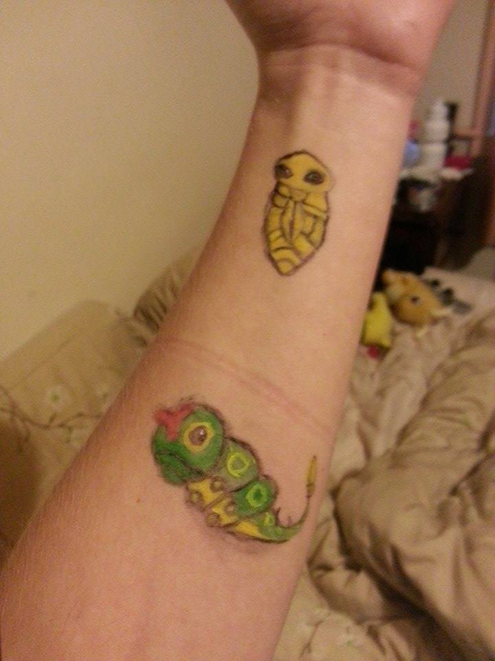 Kakuna and Caterpie - Face/Body Paint by Rhelna
