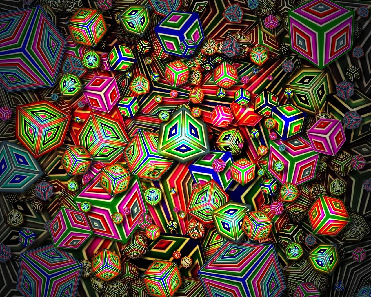Shiny Happy Cubes by rabbitica