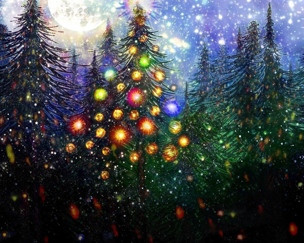Moon glitter christmas tree for michelle by rabbitica on