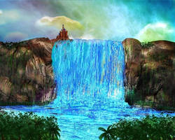 Castle atop the waterfall by rabbitica