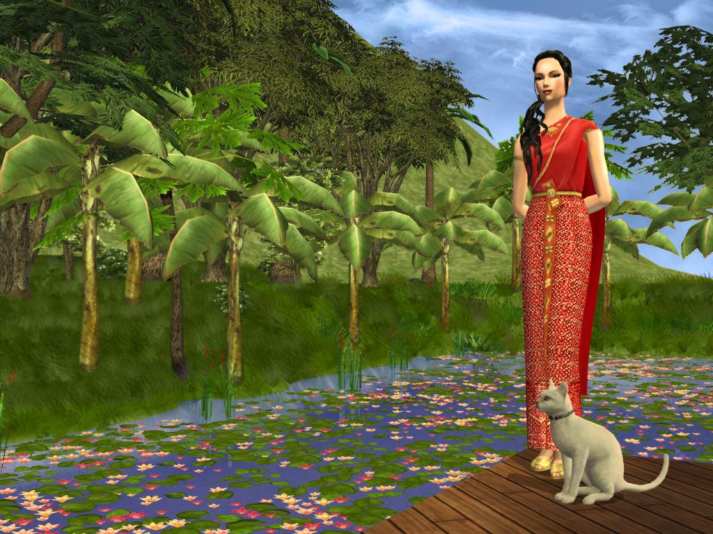 Thai Lady by lotus pond-SimArt