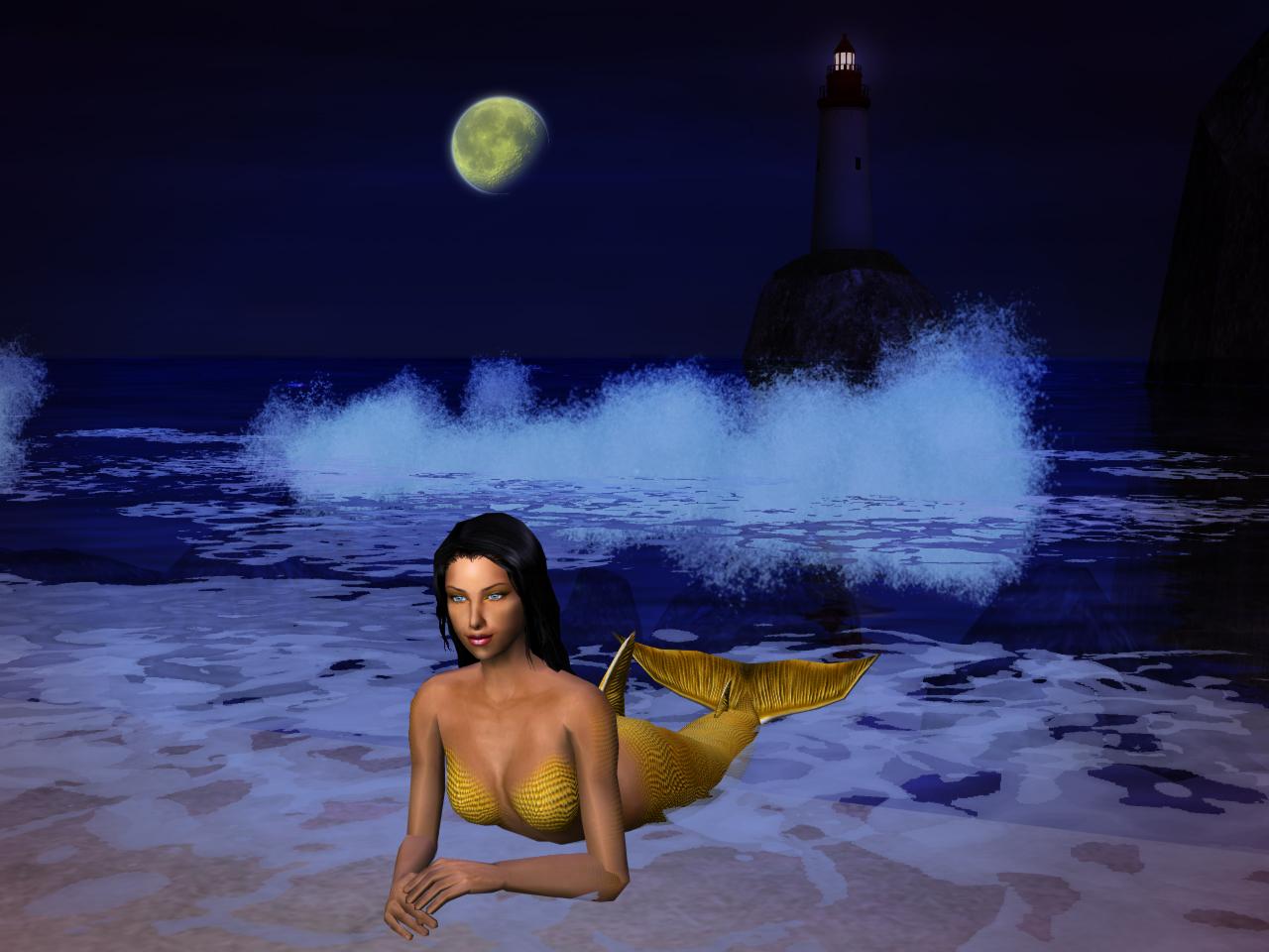 Moonbathing mermaid --SimArt