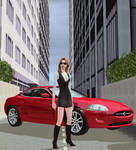 Girl with hot car - Sims