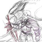 Nargacuga and Hunter by kayydotts