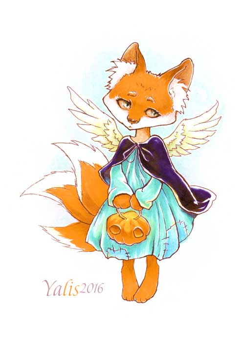Fox and pumpkin by YaLis