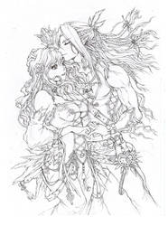 Elves Romance - Emma and Fydris (lineart)