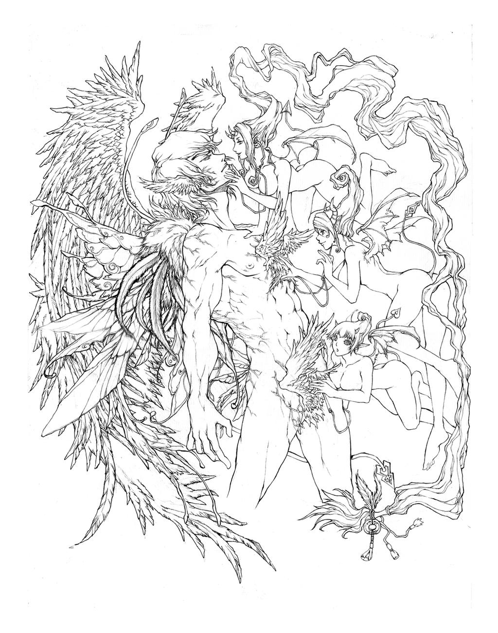 Obsession of Wings- How to make an angel(lineart) by KenshjnPark