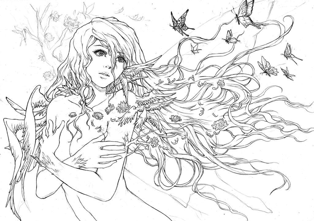 Lana - Lastnight's Fantasy (lineart) by KenshjnPark
