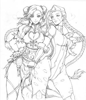Chunli and Cammy (lineart)