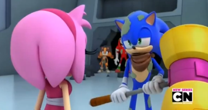 Sonic carrying Amy's hammer by GothNebula