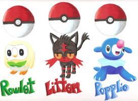 PokemonSunMoon: Starters by GothNebula