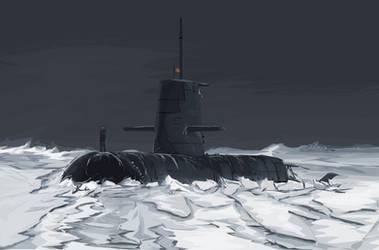 soviet submarine in the polar region by devitant