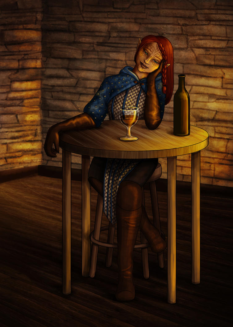 Kestrel Mahariel in the Tavern by thefontbandit