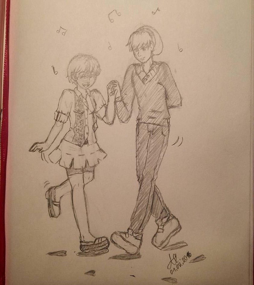 Late night sketch - lets dance by Nyancatextreme