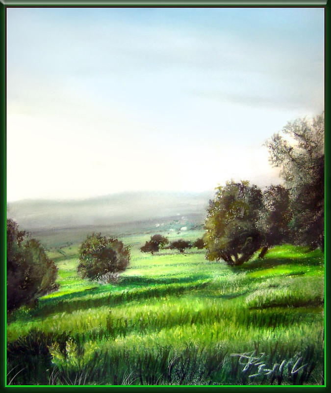 olive trees in my area, pastel by sepultur60