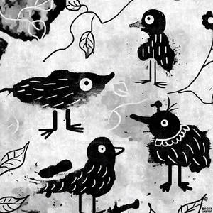 Fluffy Black Birds