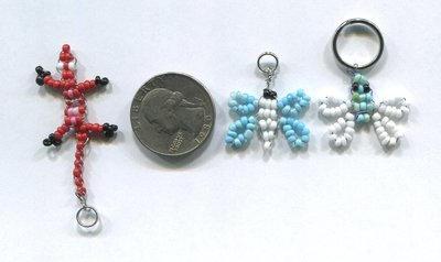 Tiny Beaded  Lizard And Butterflies Keychain