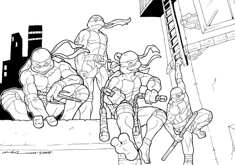 Tmnt Group Pose Bw By Guidotoon On Deviantart