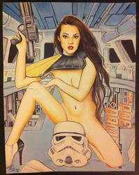 Joanie Brosas stormtrooper pinup sketch/painting by kevinsunfiremunroe