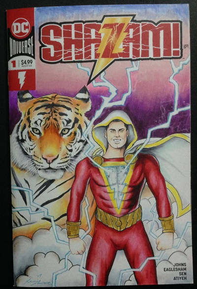 Shazam comic cover sketch with Tawny the Tiger by kevinsunfiremunroe